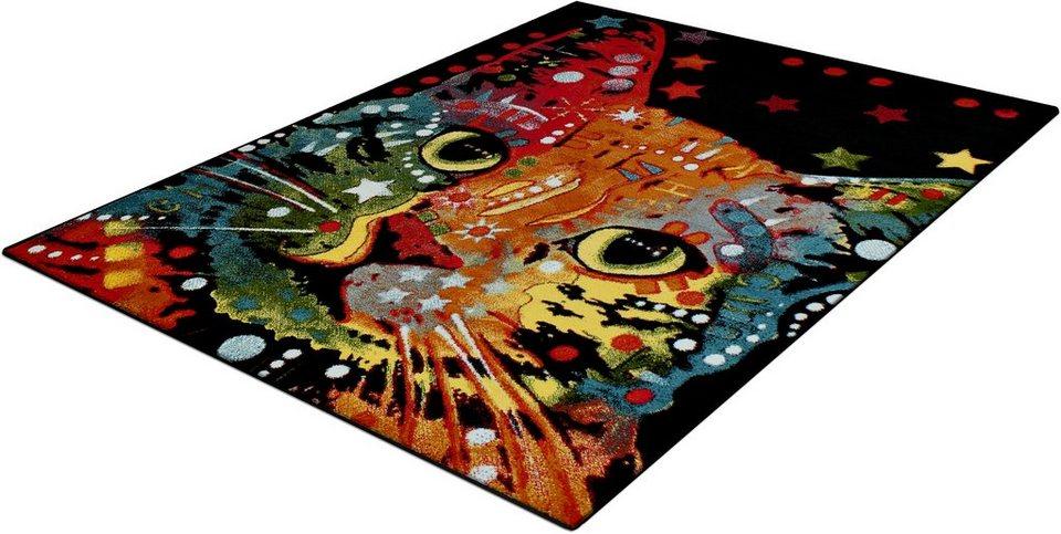 Teppich, Trend-Teppiche, »Kolibri 11011«, Katzenmotiv in schwarz
