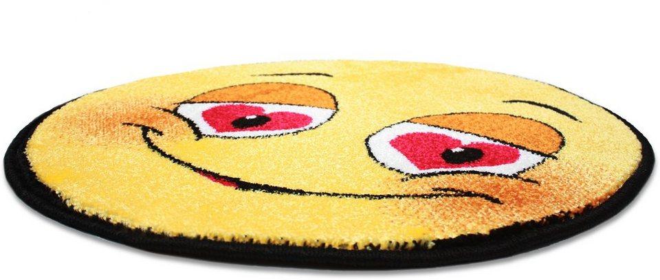 Teppich Rund, Trend-Teppiche, »Kolibri 11082«, Smiley Design in gelb