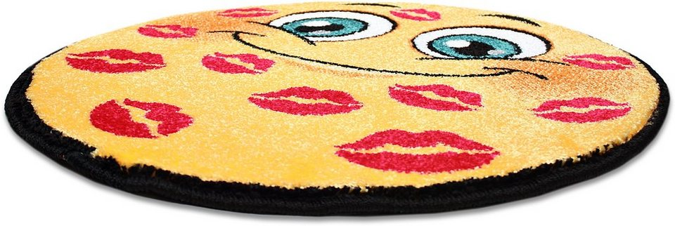 Teppich Rund, Trend-Teppiche, »Kolibri 11085«, Smiley Design in gelb