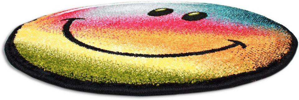Teppich rund gelb  Teppich »Kolibri 11087«, Trend Teppiche, rund, Höhe 11 mm, Smiley ...