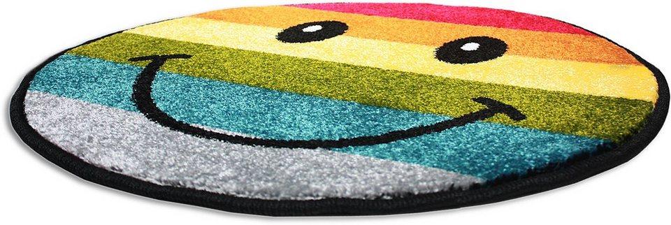 Teppich Rund, Trend-Teppiche, »Kolibri 11088«, Smiley Design in gelb