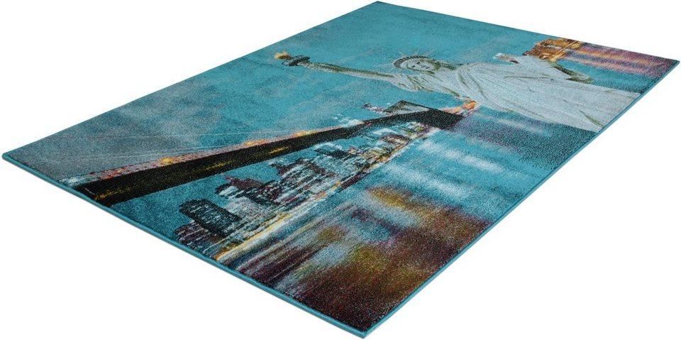 Teppich, Trend-Teppiche, »Kolibri 11125«, New York in türkis