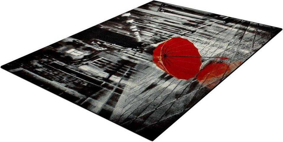 Teppich, Trend-Teppiche, »Kolibri 11128«, Regenschirm in grau