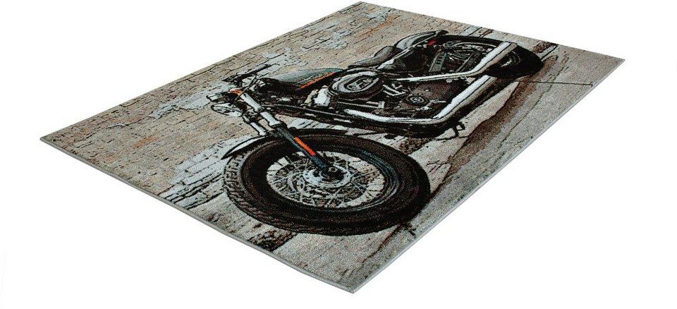 Teppich, Trend-Teppiche, »Kolibri 11126«, Motorrad in grau