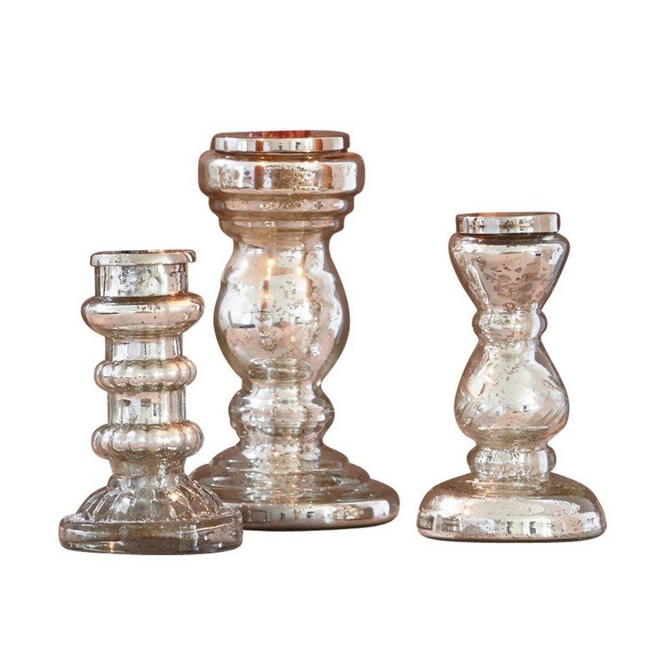 Loberon Kerzenständer 3er-Set »Semilly« in antiksilber