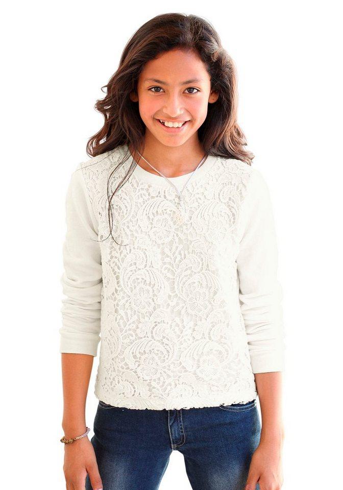 Arizona Sweatshirt mit Häkelspitze in natur
