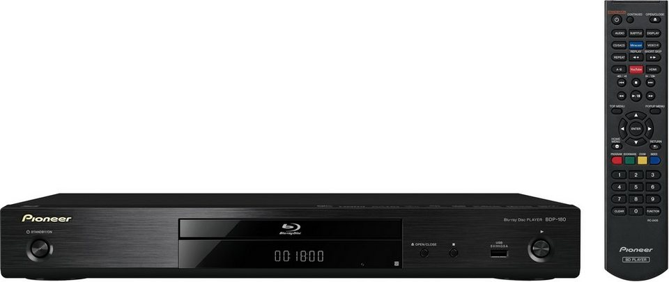 Pioneer BDP-180 3D Blu-ray-Player, 3D-fähig, 1080p (Full HD), WLAN in schwarz