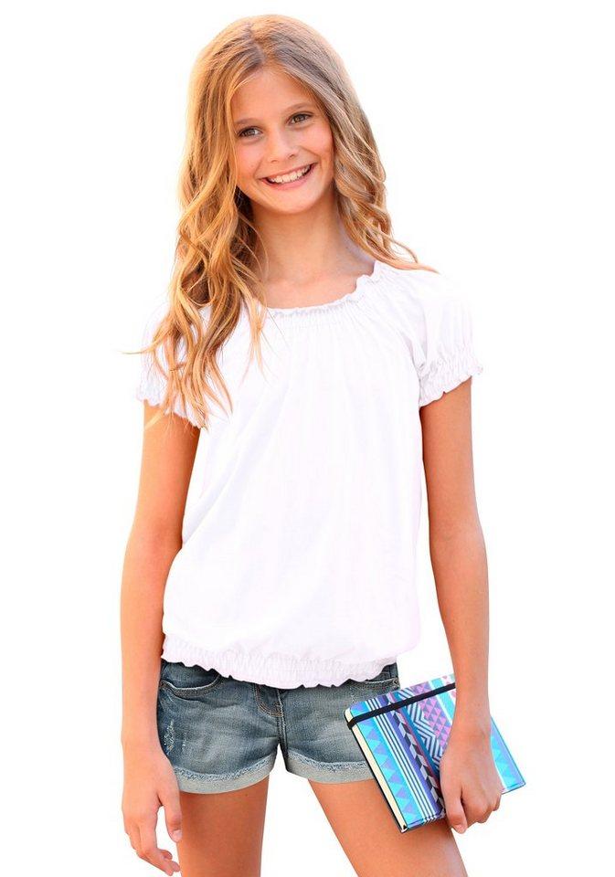 Arizona T-Shirt mit Carmenausschnitt, für Mädchen in Weiß