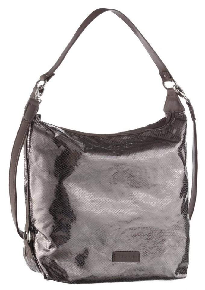 Tamaris Hobo Bag im Metallic Look in silberfarben