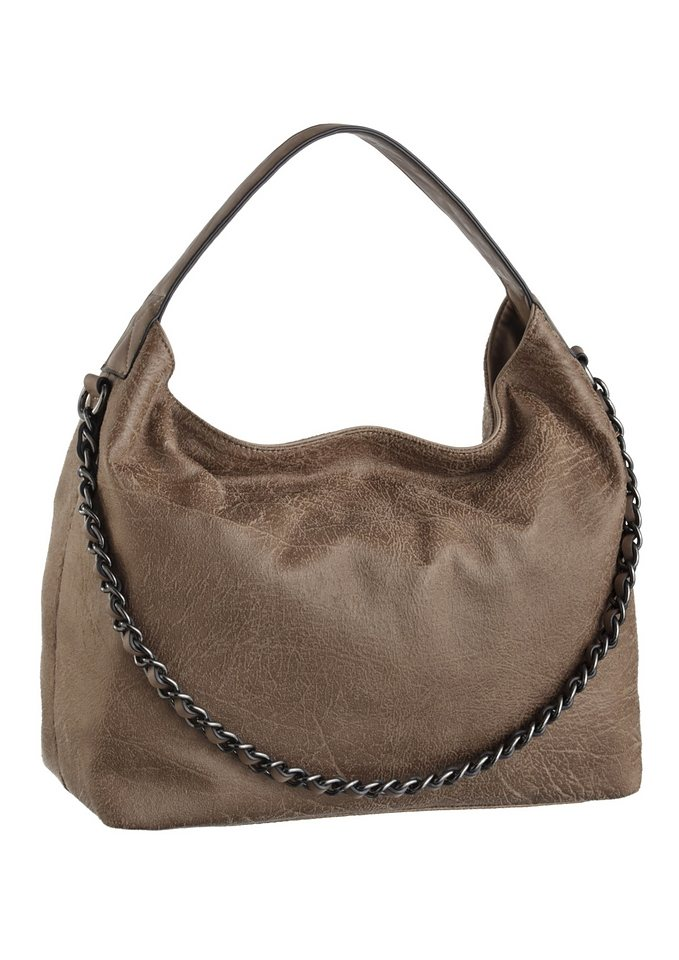 J. Jayz Hobo Bag mit Zierkette in taupe