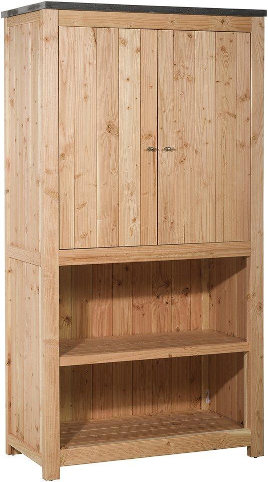 Outdoor-Küche mit Türen (B/T/H: 109/56/204 cm) in natur
