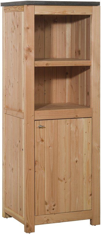 Outdoor-Küche mit Türen (B/T/H: 62/56/168 cm) in natur
