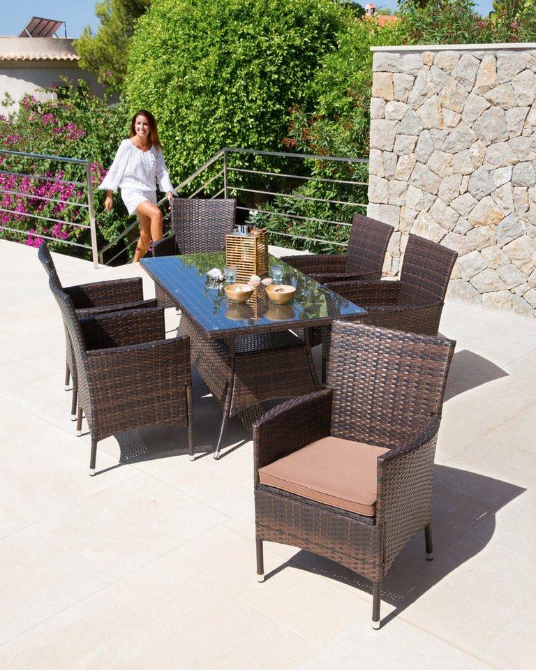13tlg. Gartenmöbelset »Santiago«, 6 Sessel, Tisch 150x80 cm, Polyrattan, inkl. Auflagen in braun