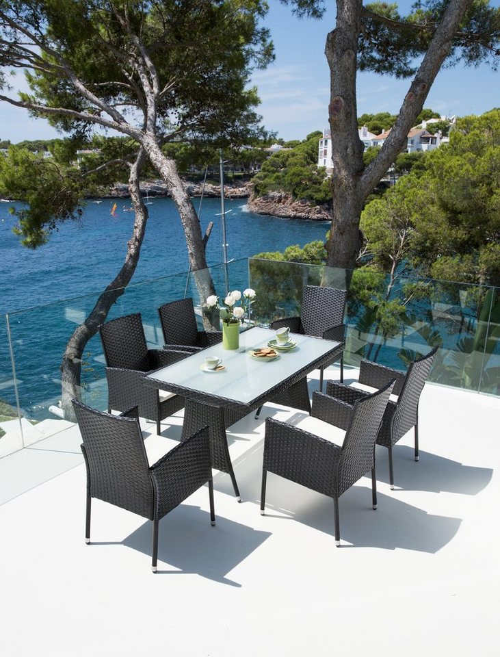 13-tgl. Gartenmöbelset »Costa Rica«,6 Sessel,Tisch 140x80cm,Kunststoff,schwarz  in schwarz