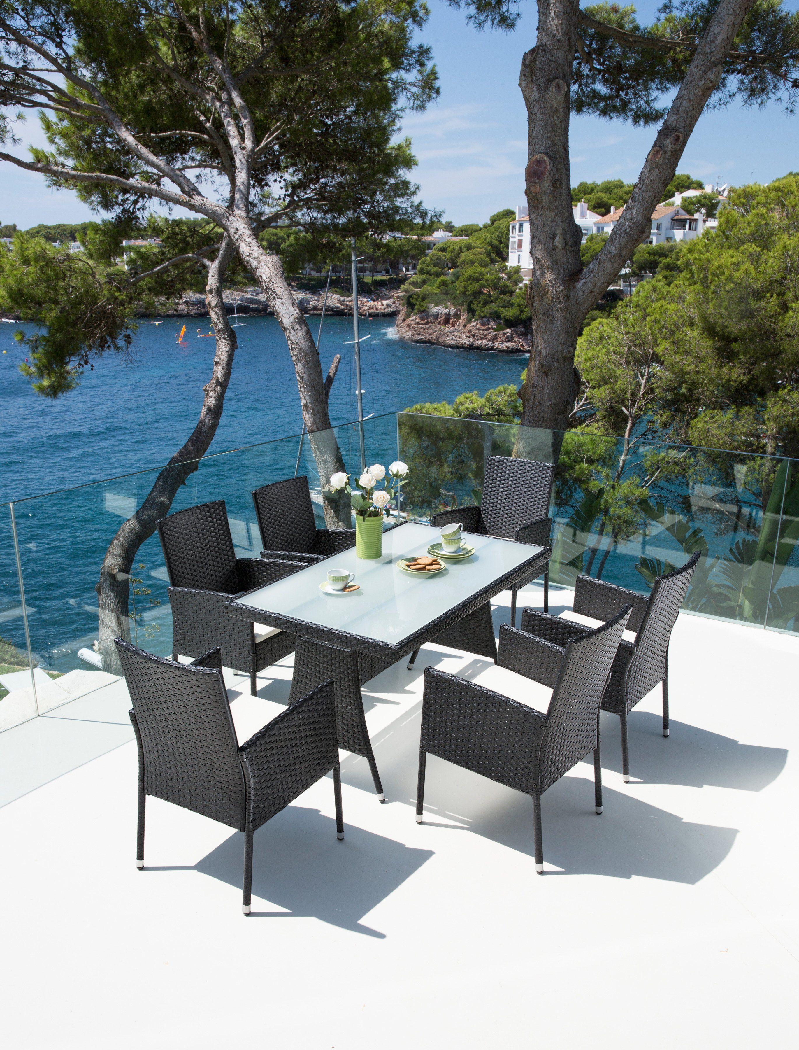 Gartenmöbelset »Costa Rica«, 6 Sessel, Tisch 140x80cm, Polyrattan, schwarz
