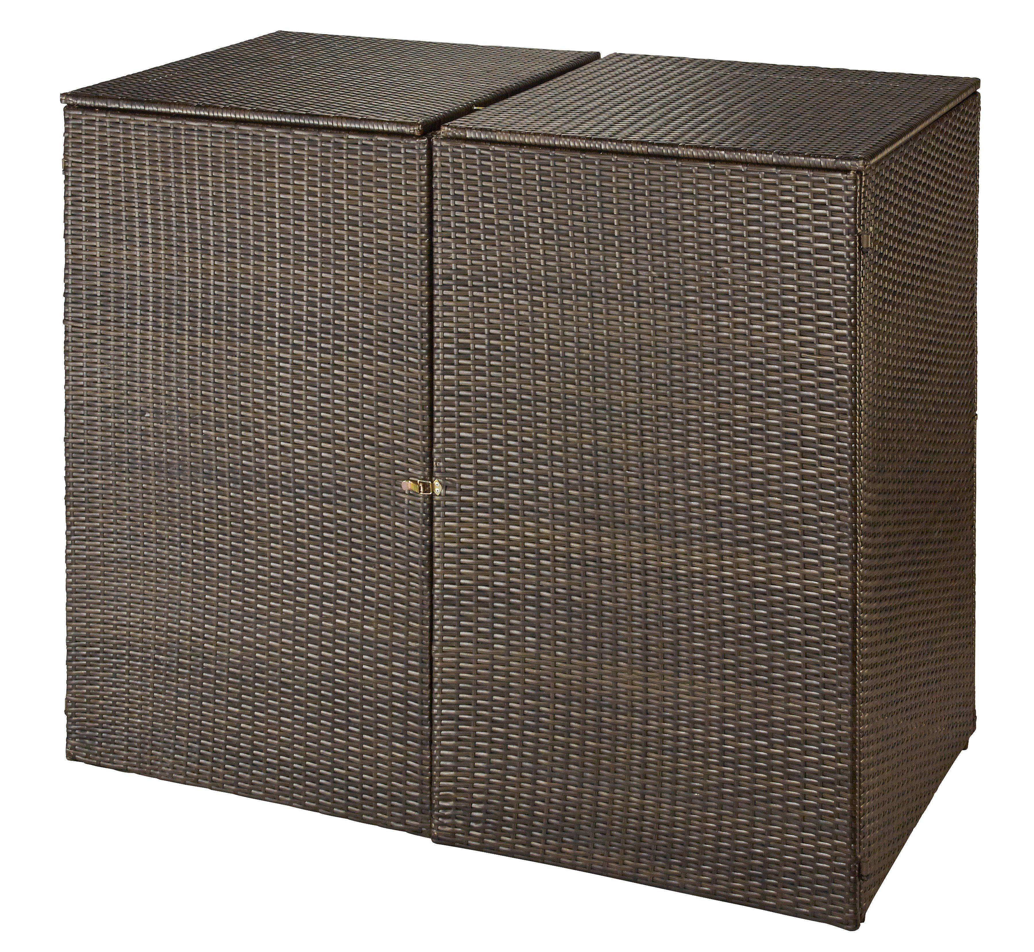 HANSE GARTENLAND Mülltonnenbox , für 2x240 l aus Polyrattan, B/T/H: 150/78/123 cm