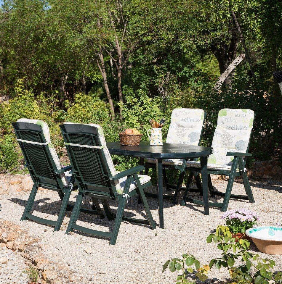 9-tgl. Gartenmöbelset »Elise«, 4 Klappsessel, Tisch 137x90 cm, Kunststoff, grün in grün