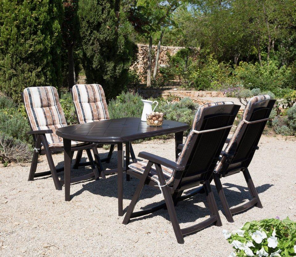 9-tgl. Gartenmöbelset »Elise«, 4 Klappsessel, Tisch 137x90 cm, Kunststoff, braun in braun