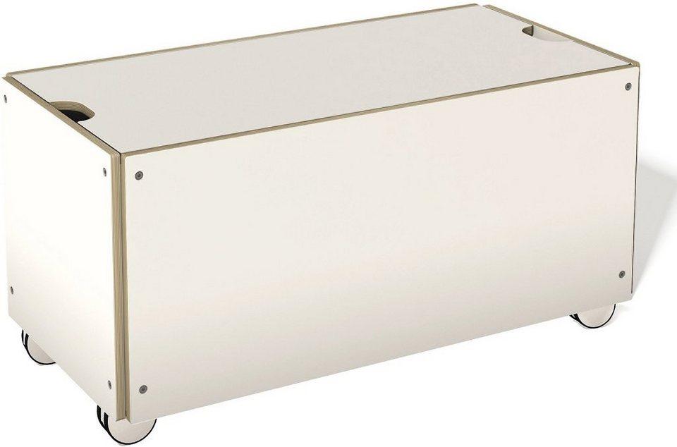 müller möbelwerkstätten® Bettkasten auf Rollen, passend zur »STAPELLIEGE« Komforthöhe in weiß mit Birkenkante