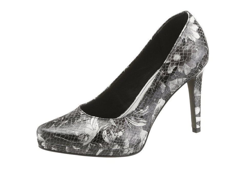Tamaris High Heel Pumps mit trendigem Blumenprint in schwarz kombiniert