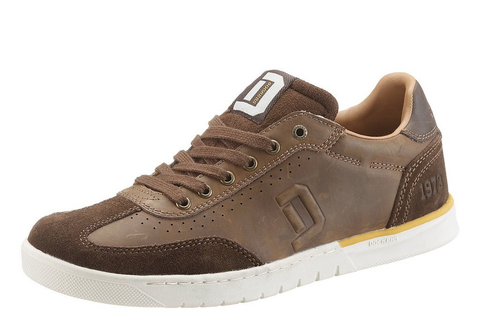 Dockers Sneaker im Materialmix in braun used