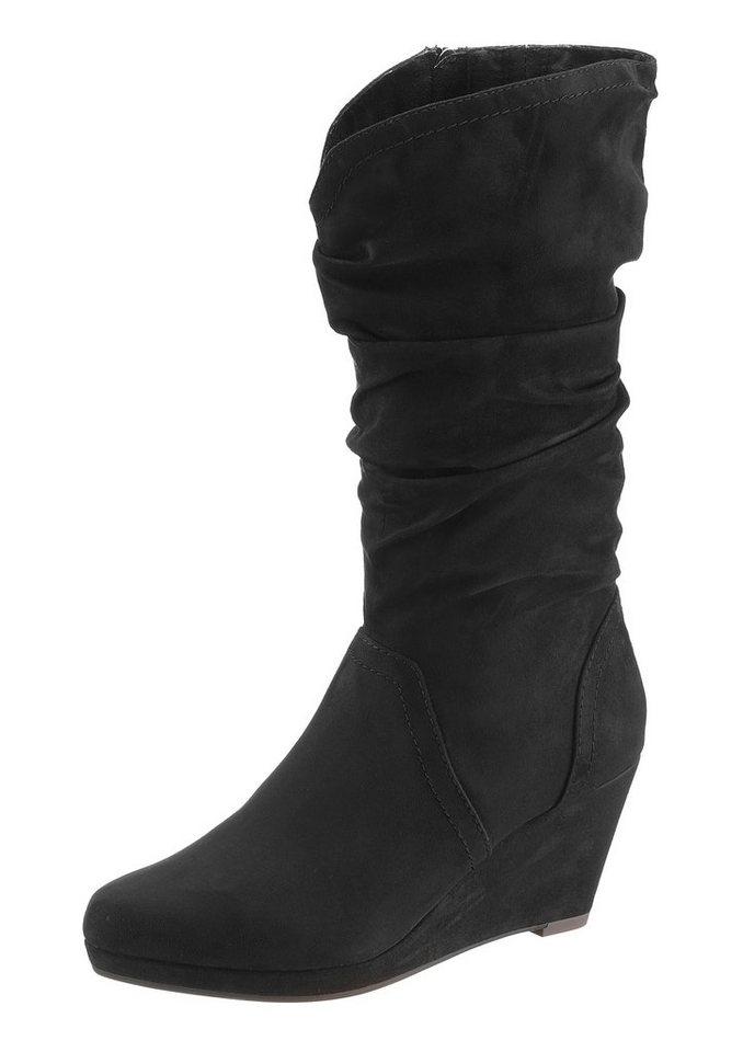 Tamaris Keilstiefel mit gerafftem Schaft in schwarz