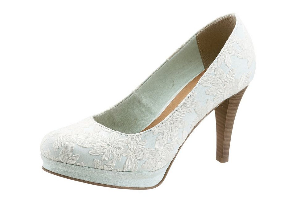 Tamaris High Heel Pumps mit Blumenmuster in mint