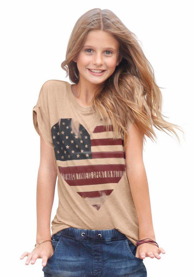 Arizona Oversize Shirt mit Frontdruck, für Mädchen in rosa-Meliert