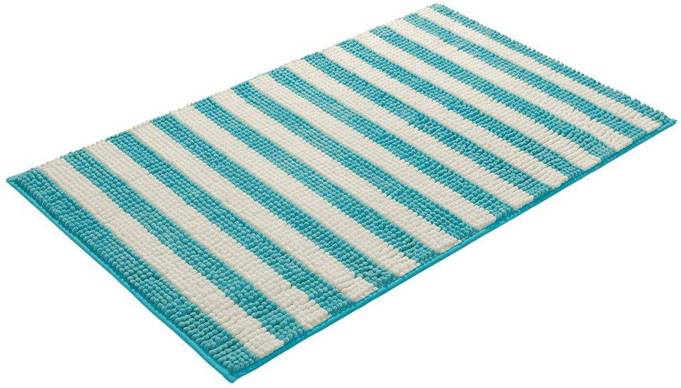 Badematte, my home selection, »Iris«, Höhe 15 mm, Chenille, rutschhemmender Rücken in blau