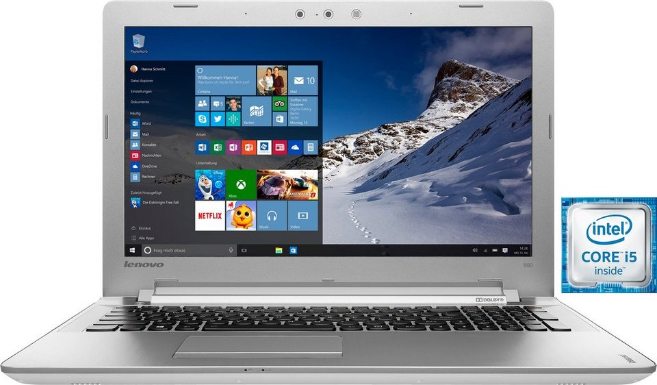 Lenovo Ideapad 500-15ISK (80NT00DBGE) Notebook, Intel® Core™ i5, 39,6 cm (15,6 Zoll) in weiß