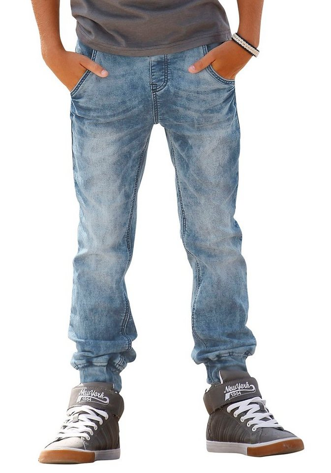 Arizona Sweatjeans in Jeans-Optik in light-blue-used