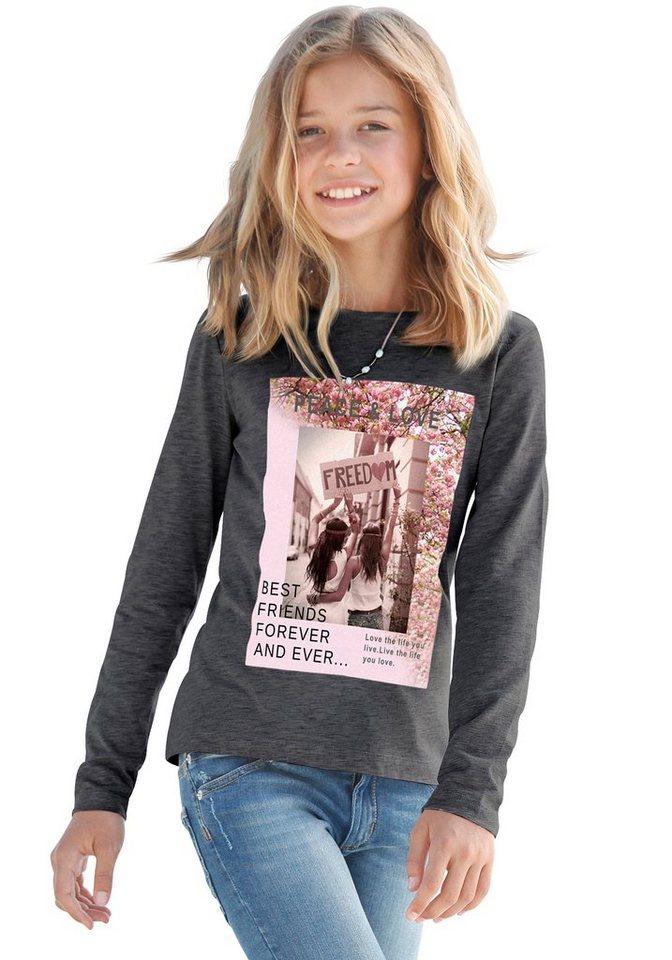 Buffalo Langarmshirt mit Fotodruck, für Mädchen in grau-meliert