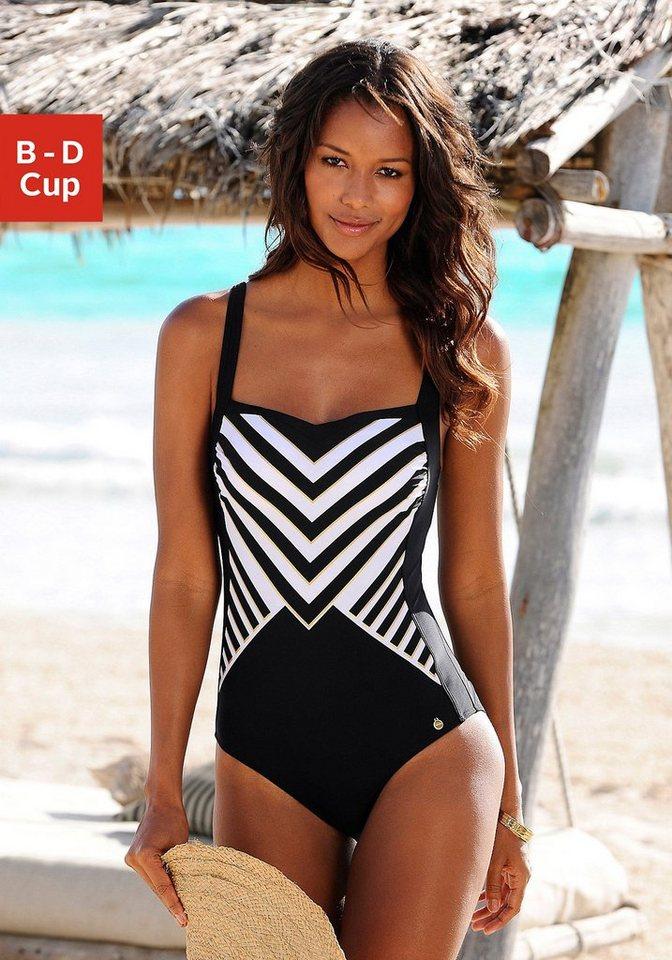 LASCANA Badeanzug in schwarz-weiß