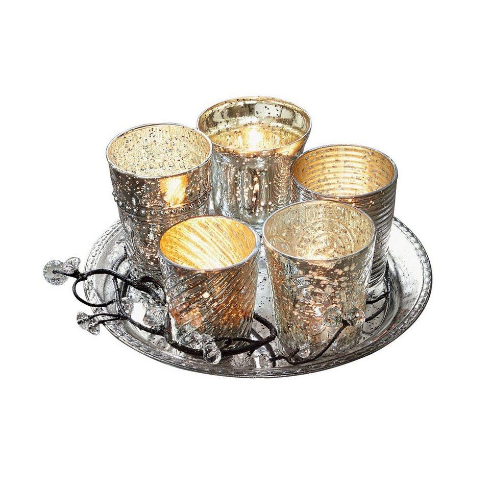 Loberon Tablett mit Teelichtern »Tilli« in antiksilber