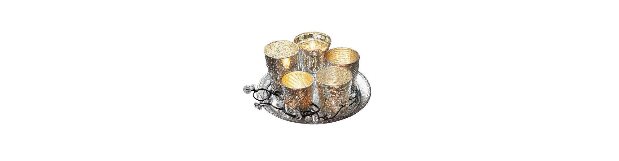 Loberon Tablett mit Teelichtern »Tilli«