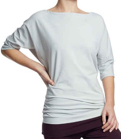 ESPARTO Yogashirt »Halbarmshirt Sadaa in Bio-Baumwolle« Wohlfühlshirt mit breitem Schulterausschnitt (U-Boot-Ausschnitt)