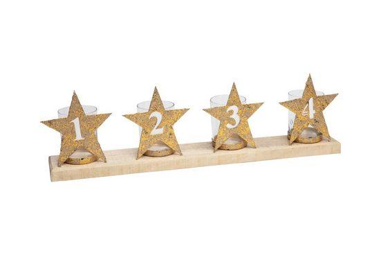 Parts4Living Adventskranz »Metall Adventszahlen Teelichthalter auf Holzbrett Weihnachtsdeko gold 54x8x16 cm«, im schönen used- Look