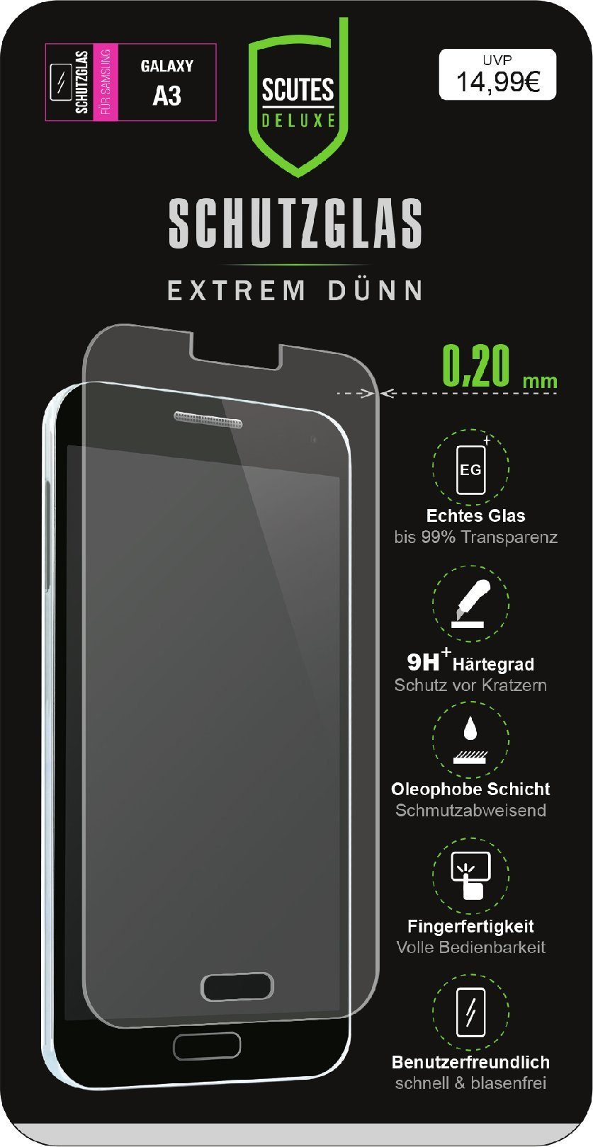 Scutes Deluxe Schutzglas Samsung A3 0,20 mm 9H »(Tablet/Smartphone)«