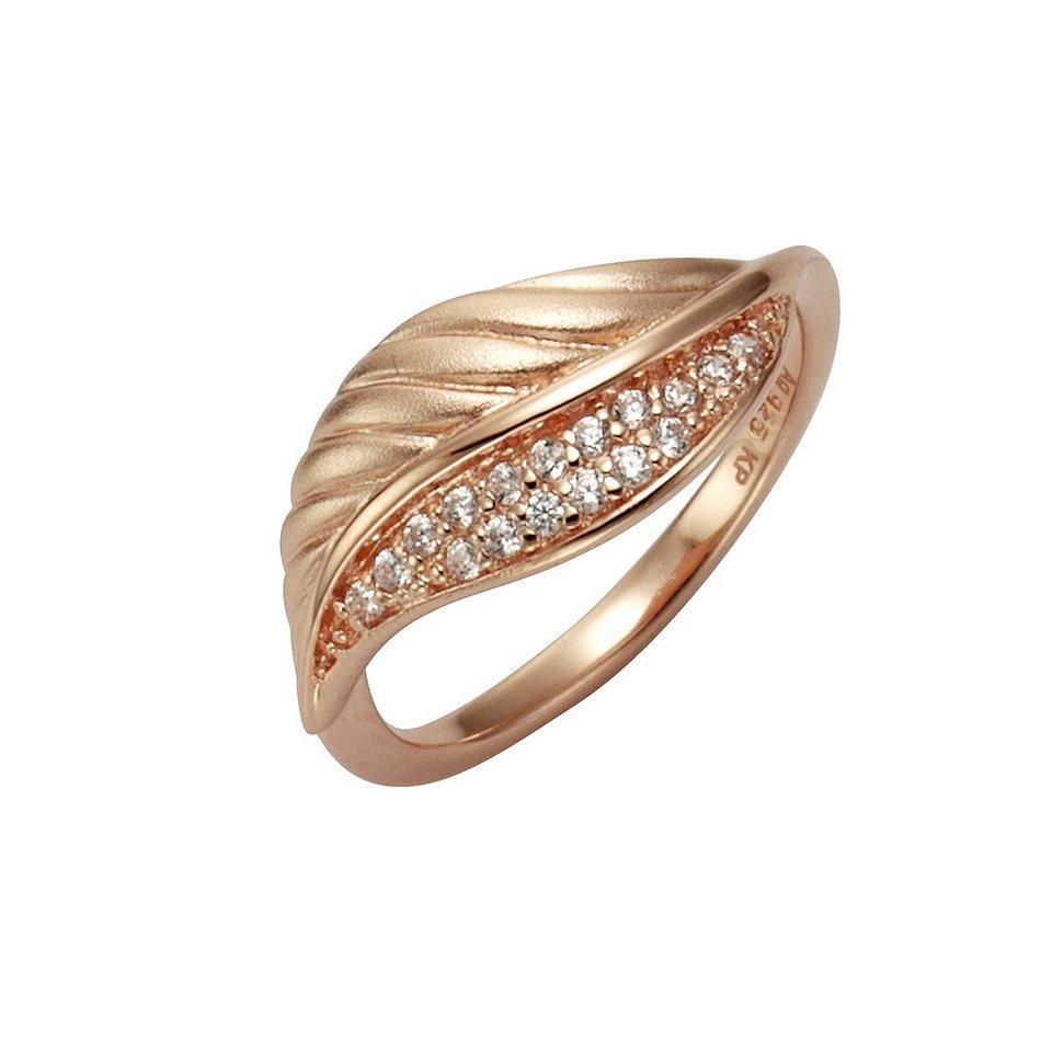 Zeeme Ring »925/- Sterling Silber Zirkonia weiß« in rot