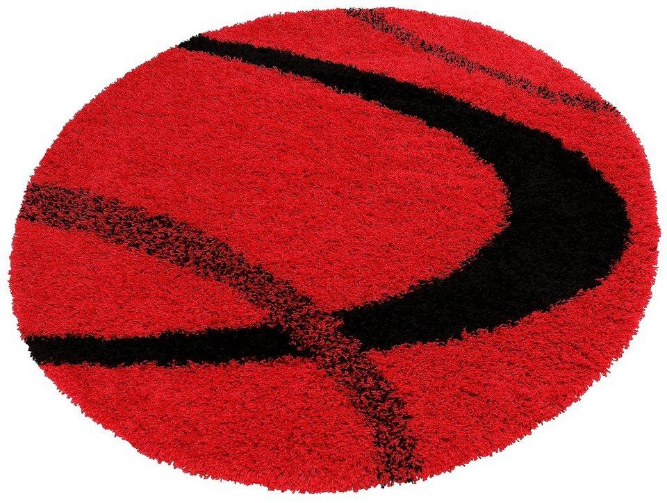 Hochflorteppich rund, my home, »Ankara«, Höhe 52 mm, gewebt in rot