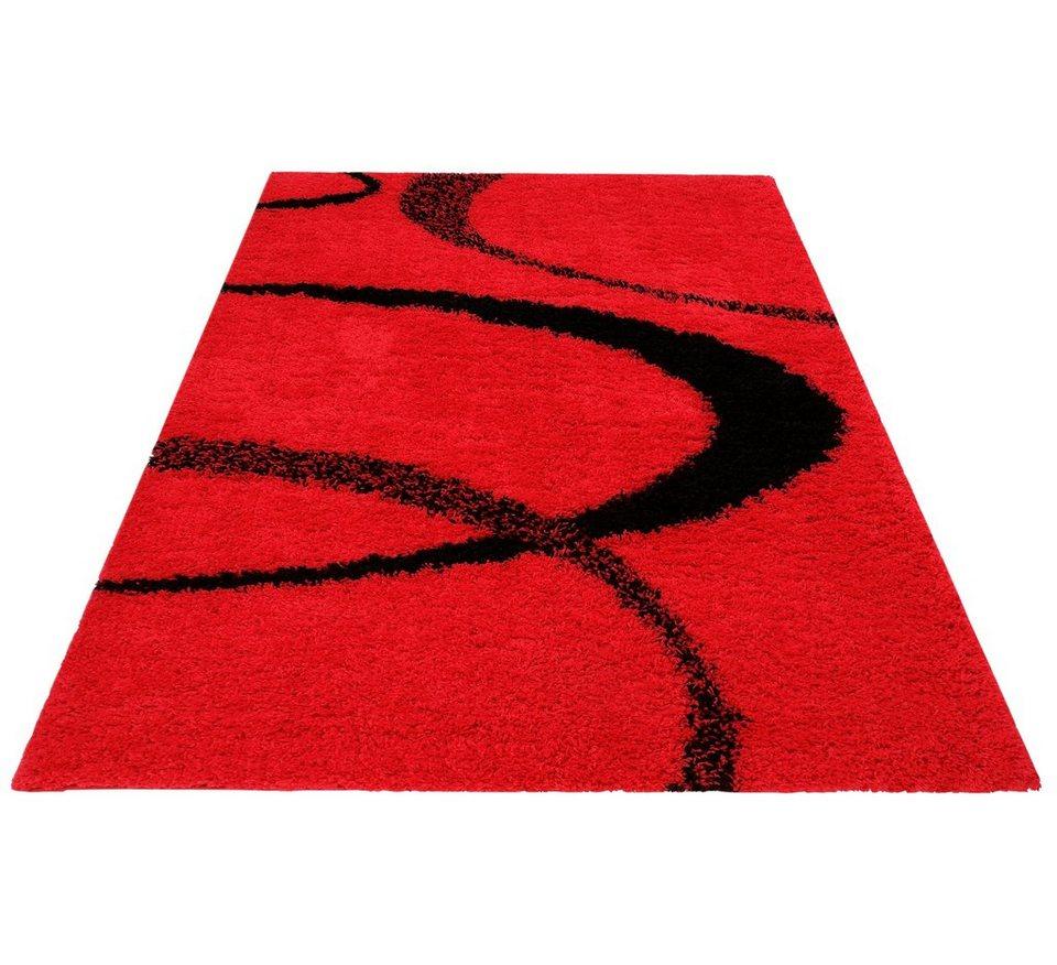 Hochflorteppich, my home, »Ankara«, Höhe 52 mm, gewebt in rot