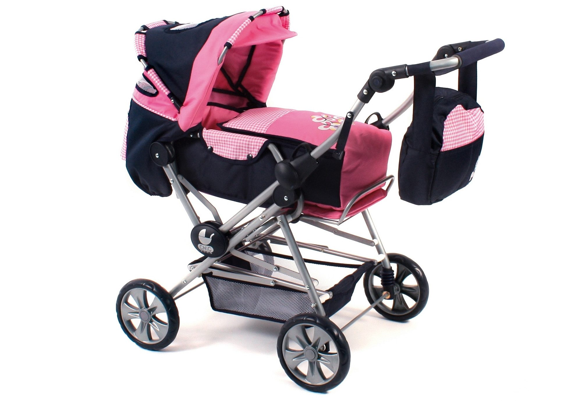CHIC2000 Puppenwagen mit Tasche, »Road Star, Pink Checker«