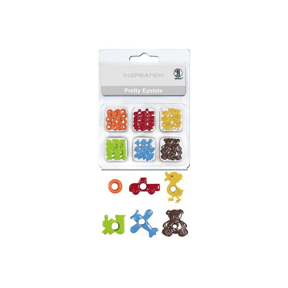 URSUS Papierösen Metall Pretty Eyelets Spielzeug, 76 Stück in 6 De