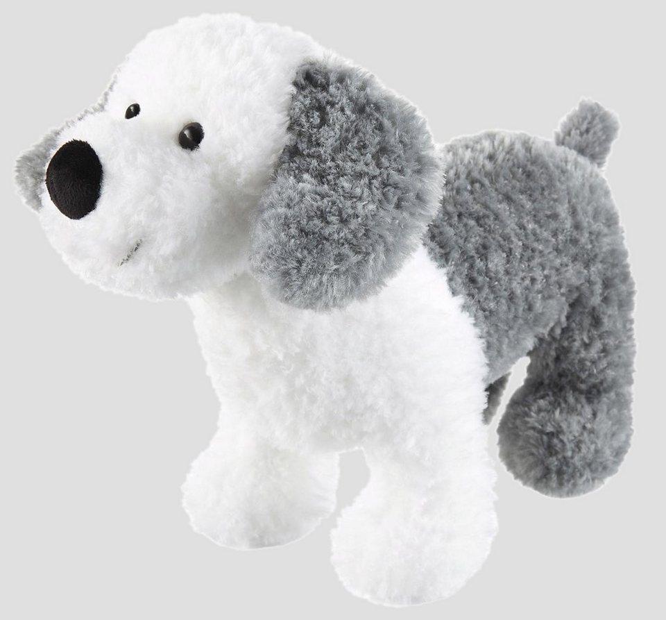 Schaffer Plüschhund, »Bobtail-Buby« in weiß/grau