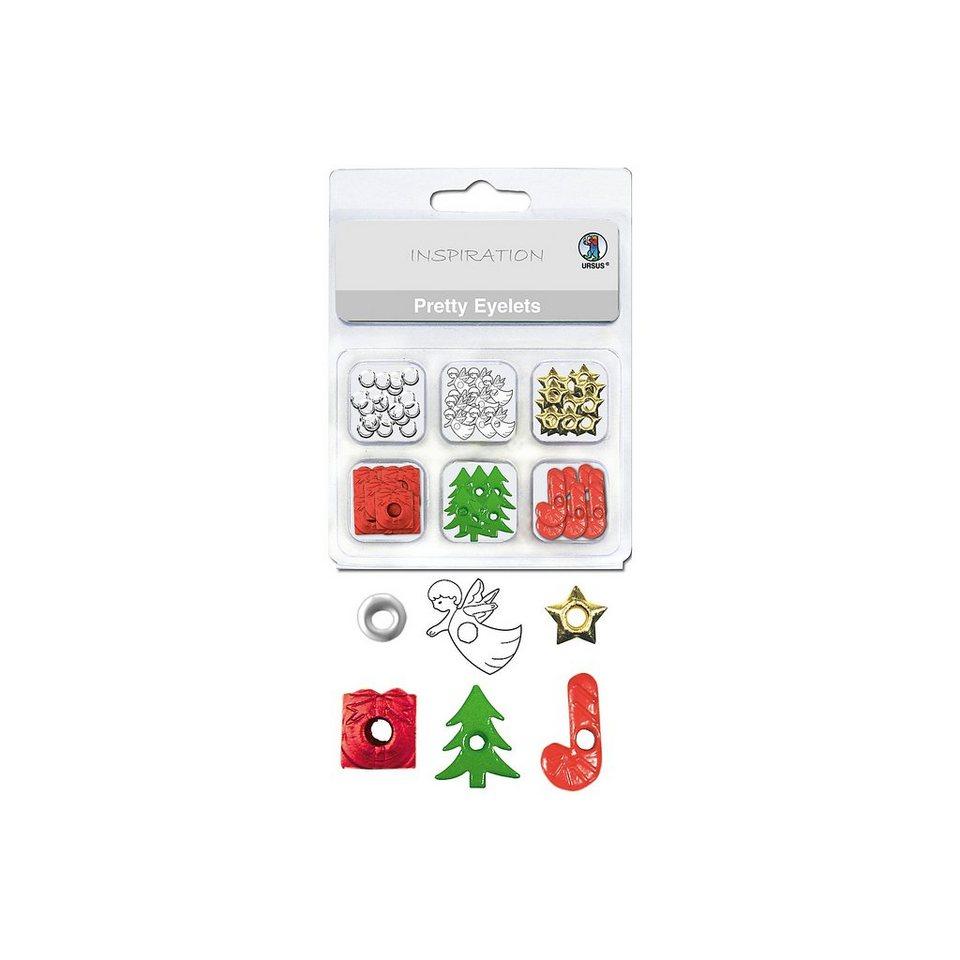 URSUS Papierösen Metall Pretty Eyelets Weihnachten, 76 Stück in 6