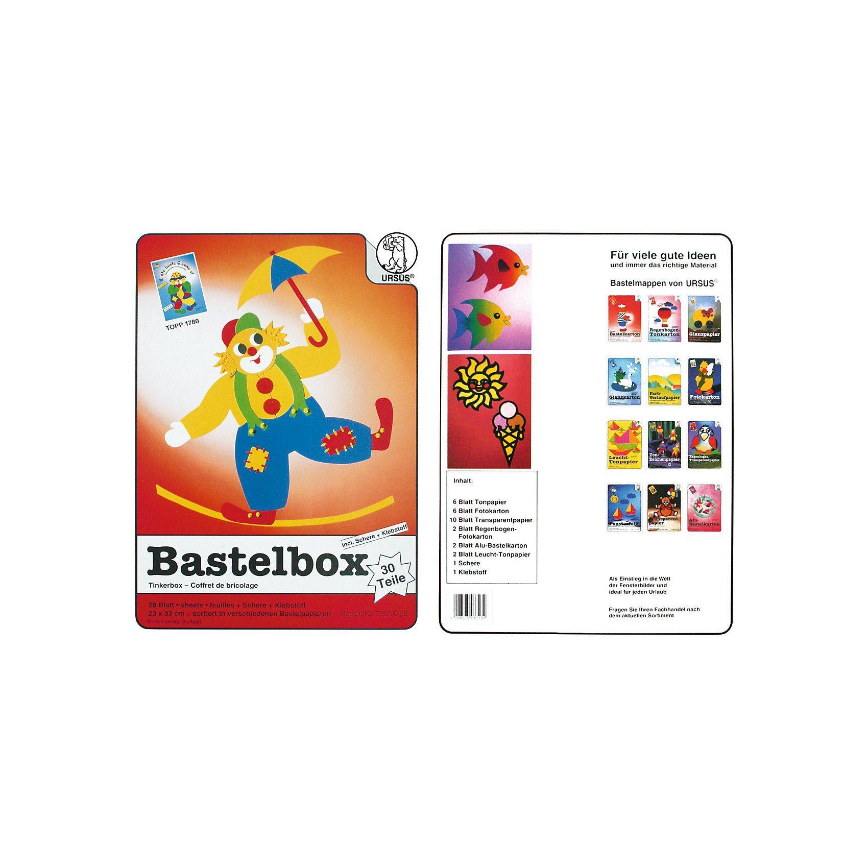 URSUS Bastelbox, 30-tlg. Inkl. Schere & Klebstoff
