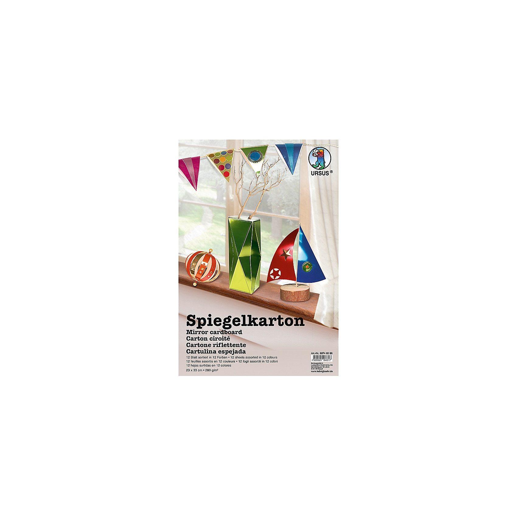 URSUS Spiegelkarton, 12 Blatt in 12 Farben