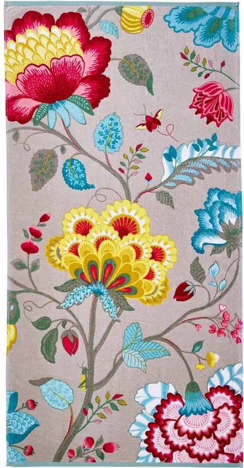 Badetuch, PiP Studio, »Floral Fantasy«, mit großen Blüten in khaki