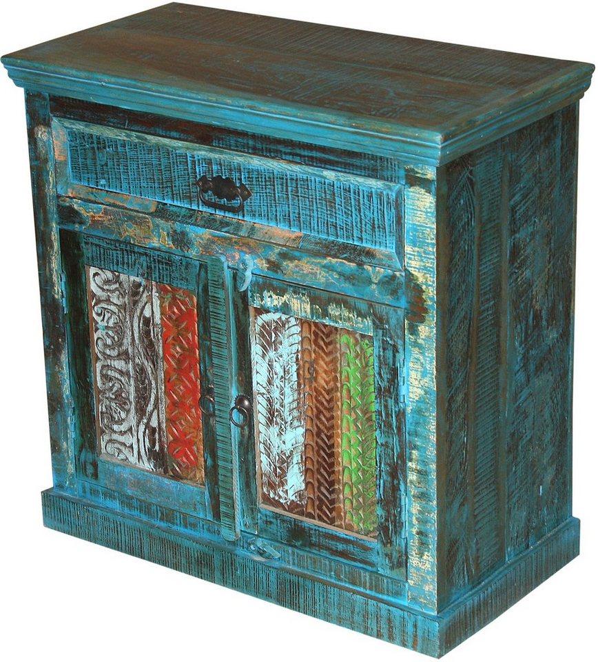 Home affaire Kommode »Bombay«, Breite 80 cm in blau/bunt gewischt