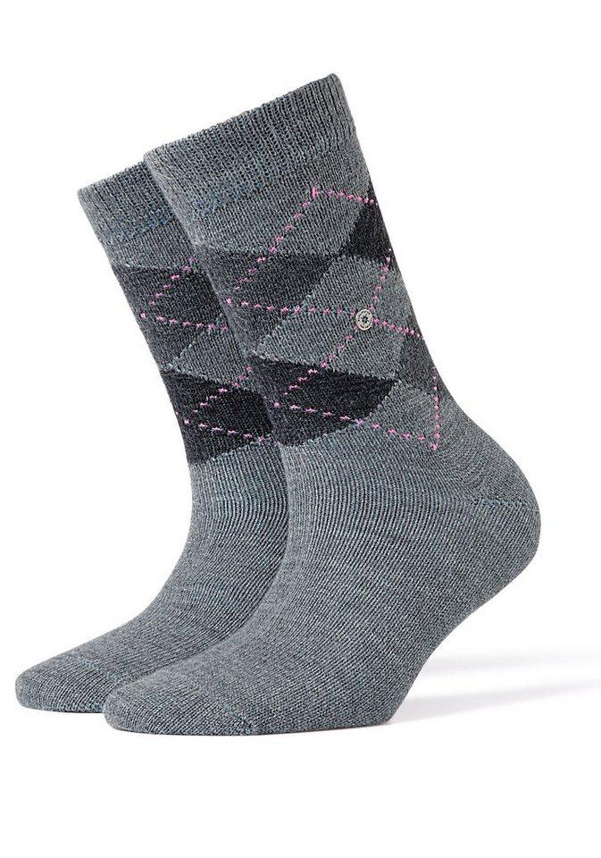 Burlington Socken »Whitby« im klassischen Argyle-Design in 1x grau